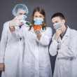 Students working on genetically modified food — Stock Photo