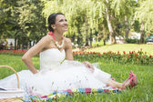 Lovely bride in nature — Stock Photo