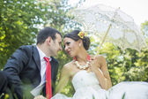 Bride and Groom enjoy the outdoors — Stock Photo