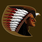 Indian Chief Mascot Head Vector Graphic — Stock Vector