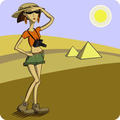 Traveler on the background of the desert and pyramids — Stock Vector