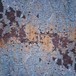 Metal surface with old paint and rust spots. — Stock Photo