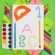 Stock Photo: School supplies: pencils, paints, markers, pens. Student and off