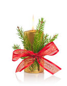 Golden Christmas candle — Stockfoto