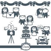Cats Icons 7 Vector Symbols Set: wedding — Stock Vector