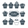 Set from ten cupcakes — Stock Vector #23942743