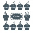 Ten cupcakes set with candles - Stock Vector