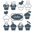 Ten cupcakes set - Stock Vector