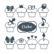 Ten cupcakes for girls - Stock Vector