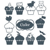 Ten cupcakes set — Stock Vector