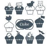 Ten cupcakes set — Stock Vector