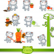 Cats icons. 8 Symbols Set: gardening — Stock Vector