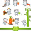 Cats icons. 8 Symbols Set: gardening — Vector de stock #25037307