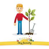 моя семья вектор: посадить дерево — Cтоковый вектор