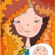 Beautiful smiling red-haired mother holds on hands of the baby — Stock Vector