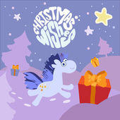 Christmas wishes vector card with a horse — Stock Vector