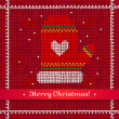 Knitted Christmas ornament with wreath — Grafika wektorowa