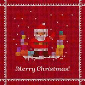Knitted Christmas vector ornament with Santa Claus and birdies — Vector de stock
