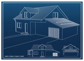 House Blueprint — Stock Vector