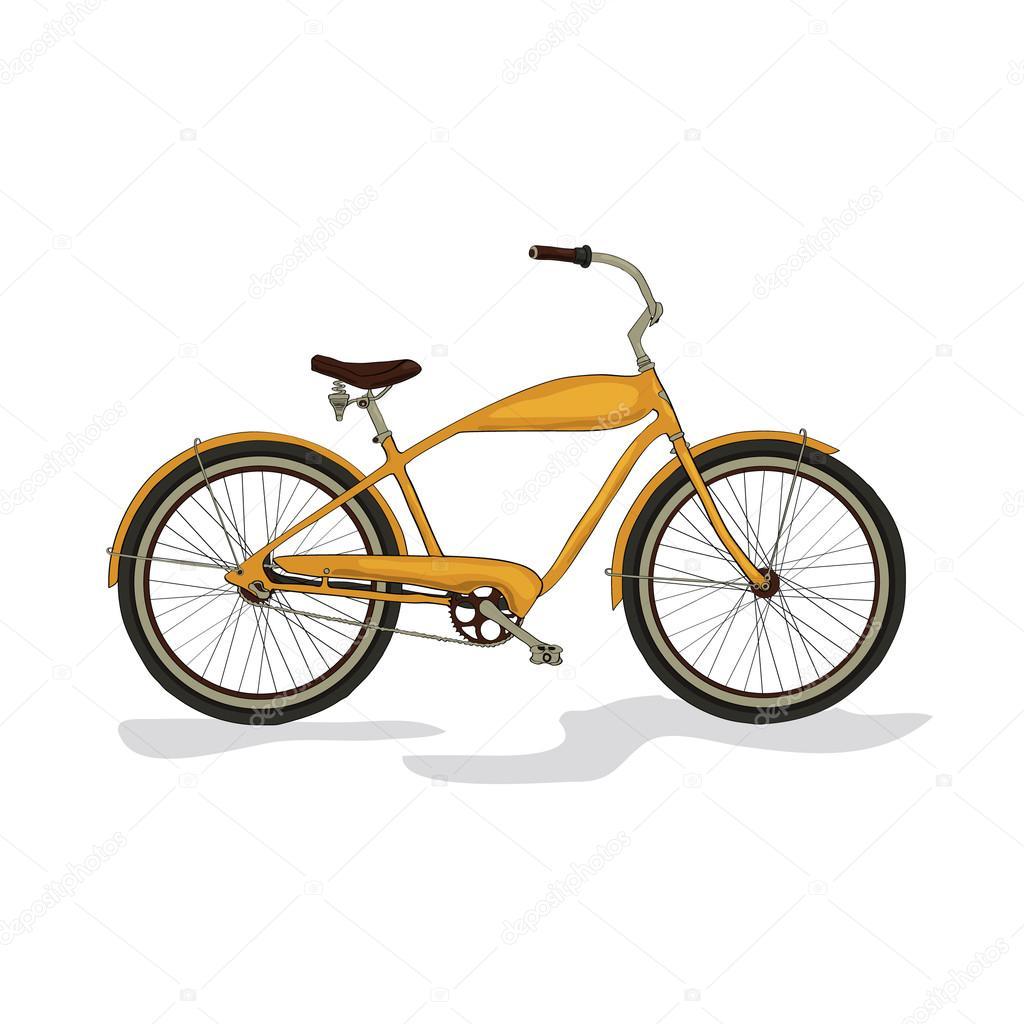 图-黄色自行车隔离在白色背景.矢量— 矢量图片作者 sasha_kan