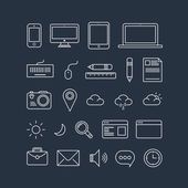 Simple line icons pack for your design. Vector thin icons design set — Stockvektor