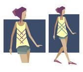 女人时装模特 — 图库矢量图片