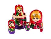 Bambole matrioska russa isolati su sfondo bianco — Foto Stock