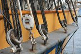 Rigging detail on a sailing ship in the Pacific Northwest — Stock Photo