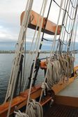 Rigging on a tall sailing ship in the Pacific Northwest — Stock Photo