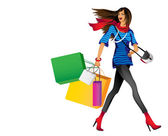 A cheerful and joyful girl goes shopping with — Vecteur