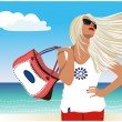 Beautiful girl with developing the hair on the shore of the ocea — Stock Vector #24571389