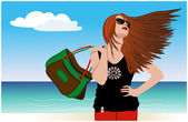 Beautiful girl with developing the hair on the shore of the ocea — Stock Vector