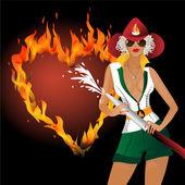 Girl in uniform fire extinguish burning heart — Stock Vector