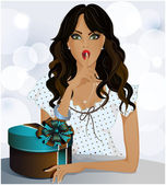 A beautiful girl with a gift in a box, blue background — Stock Vector