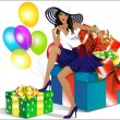Beautiful girl in the hat sitting on the gift boxes — Stock Vector