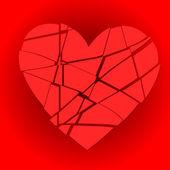 Broken red heart — Stock Vector