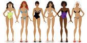 Set of girls in national bikinis1 — Stock Vector