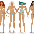 Set of girls in bikinis 2 — Stock Vector