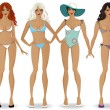 Set of girls in bikinis 2 — Stock Vector #41761791