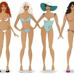 Set of girls in bikinis 2 — Stock Vector