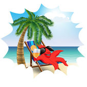 Funny starfish in a lounge chair on the beach2 — Stock Vector