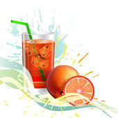 A glass of orange juice with ice2 — Stockvector