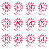 Family icons pink colours — Stock Vector