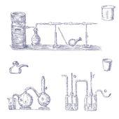 Cartoon set of chemical equipment — Stock vektor
