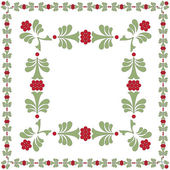 FLOWER FRAME GREEN RED — Vector de stock