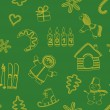 Seamless new year's green background — Stok Vektör