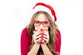 Fashion Christmas girl with glasses — Stock Photo