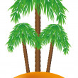 Palm on the island — Stock Vector