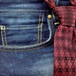 Tie and jeans — Stockfoto