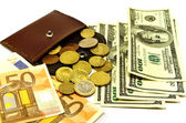 Coins, banknotes and purse — Stock Photo